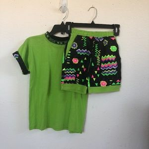 Vintage ASA 90's Co-Ord Tee and Shorts Set Size L
